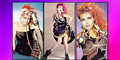 3 colourful painted images of cyndi lauper