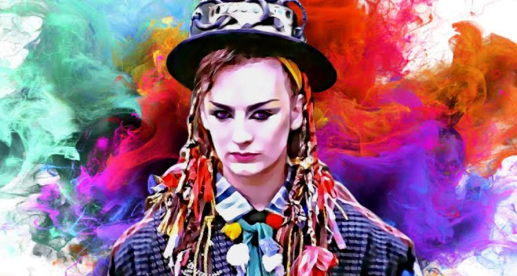 Colourful painting of Boy George, culture club