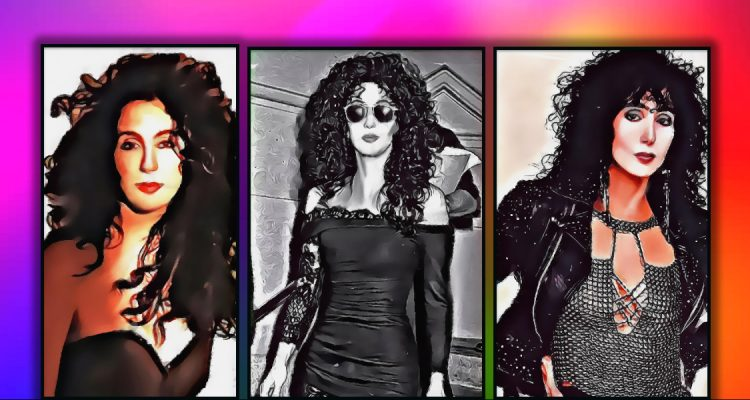 3 images of Cher in an artistic painting