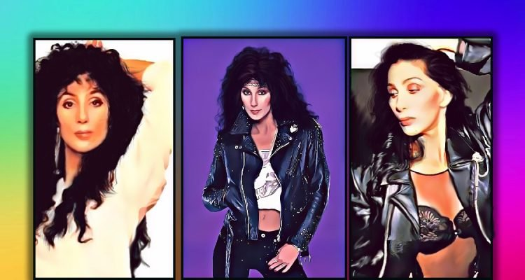 3 images of Cher in an artistic painting leather jackets