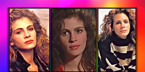3 images of Julia Roberts in an artistic painting