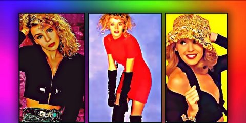 3 images of Kylie Minogue in an artistic painting