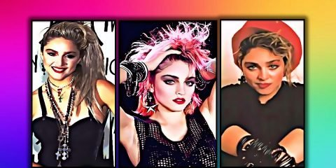 3 images of Madonna in an artistic painting