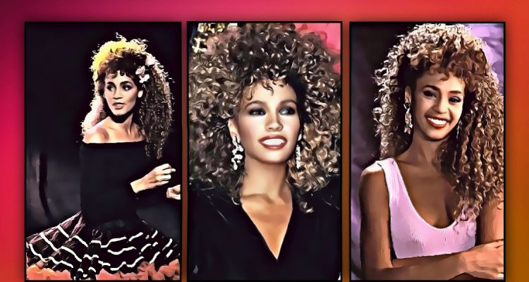 styles of Whitney Houston in 80s clothing, in pink dress, off the shoulder top with tutu skirt and black velvet dress. wearing big statement earrings.