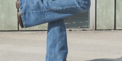 Picture of flared bell bottom denim jeans and boots