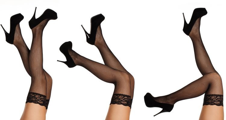 Black knee high fishnet stockings with lace and black high heels