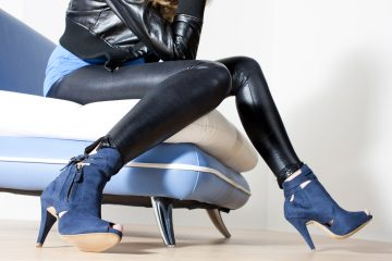 Leather jacket and leather pants with blue boots
