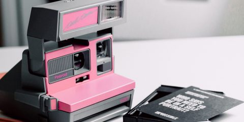 80s retro camera pink and black colour