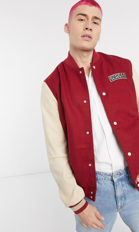 Photo by Asos (Unrvlld Supply leather varsity bomber jacket in red)