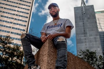 Man wearing hip hop fashion