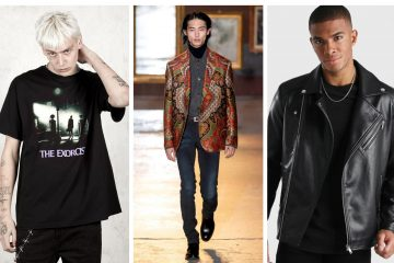 Collage of 3 male models wearing punk fashion