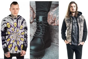 3 male models wearing heavy metal fashion. Heavy metal collage
