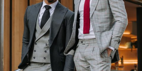 Two men wearing smart preppy fashion