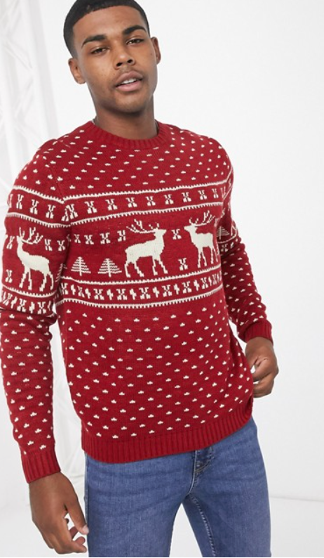 Photo by Asos (Asos Design Knitted Christmas Jumper in Red Reindeer Design)