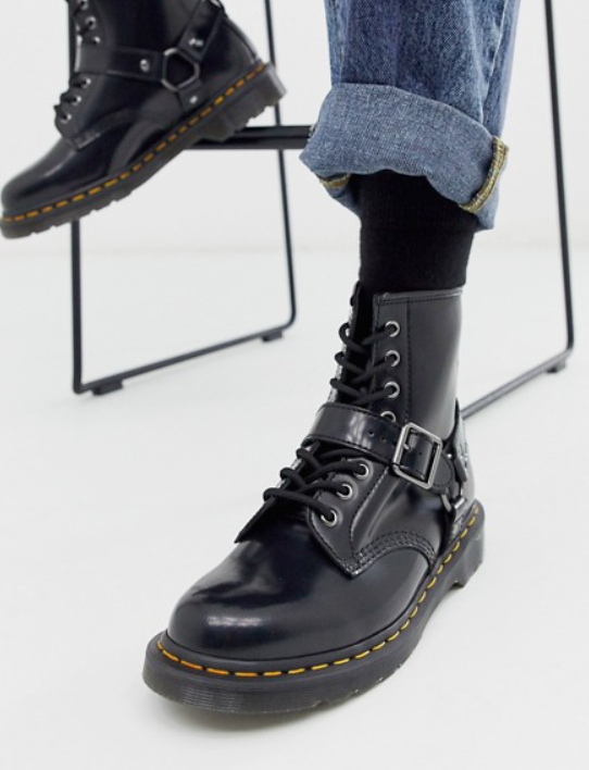 Photo by Asos (Dr Martens 1460 Harness 8 eye Boots in Black)