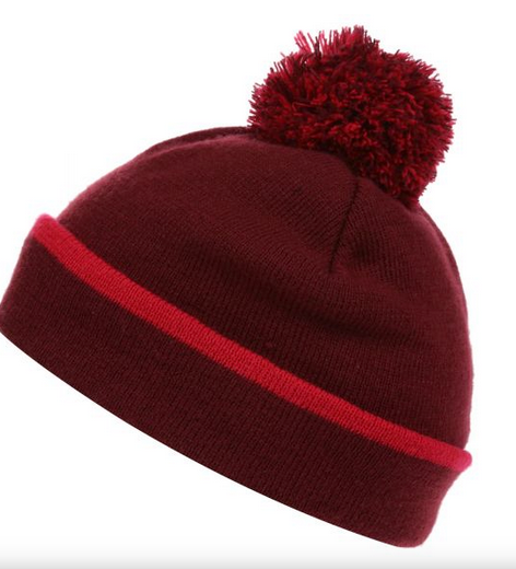 womens bobble hat in beetroot