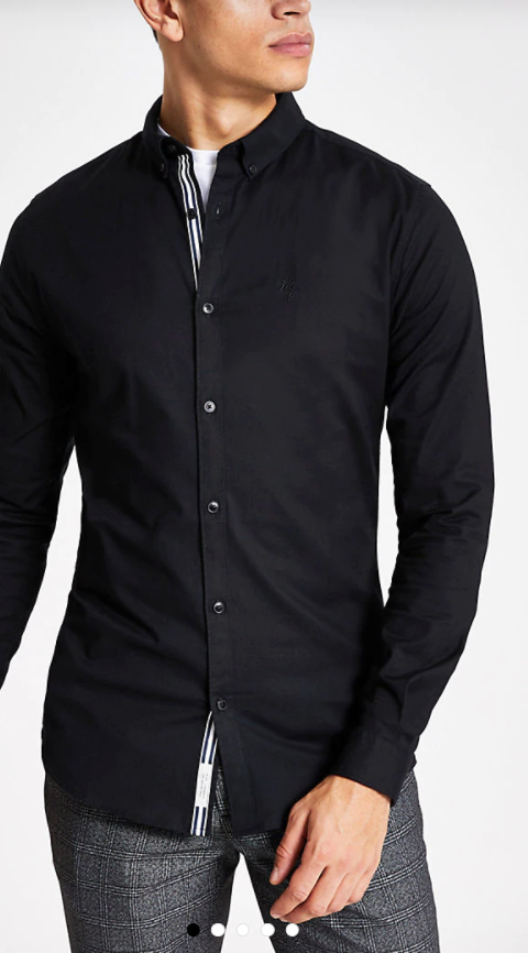 Photo by River Island (Black Long Sleeve Muscle Fit Oxford Shirt)