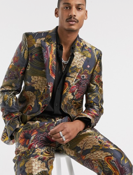 Photo by Asos (Asos Edition Slim Suit Jacket in All Over Large Scale Jacquard Design in Black)