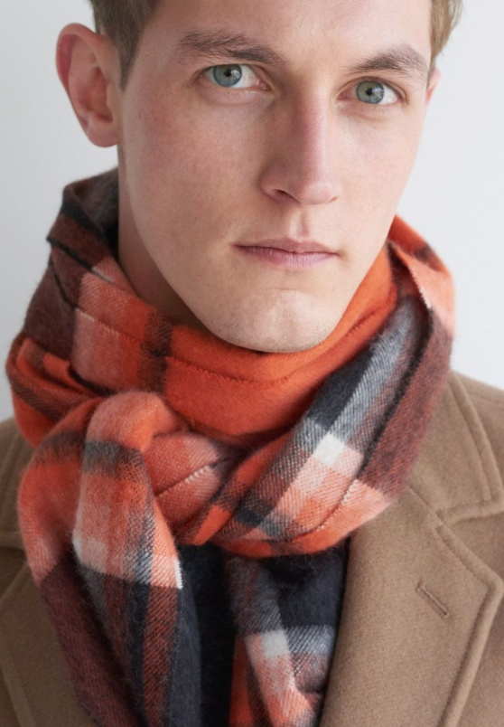 Photo by Begg X Co. (Jura Ernest Lambswool Angora Scarf in Orange)