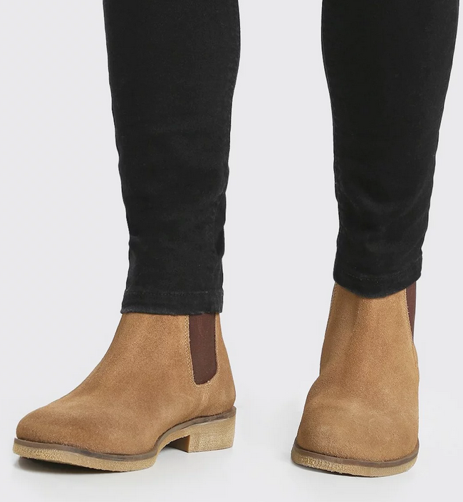 real suede Chelsea boots in tan for men
