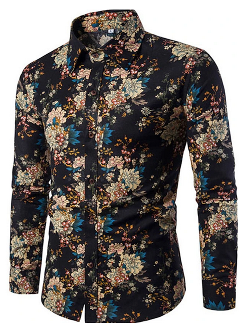 mens going out shirt floral print